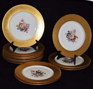 Set-of-12-Heinrich-Co-H-amp-C-Bavaria-Chargers-Gold-Encrusted-Rim-Floral-Centers