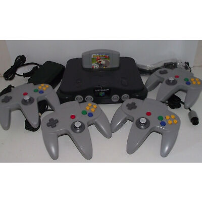 Nintendo 64 Console + 4 Controllers + Mario Kart N64 PAL Refurbed