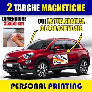 2-X-TARGHE-MAGNETICHE-AUTO-AZIENDALE-PUBBLICITA-DELIVERY-CALAMITE-CONSNEGNA