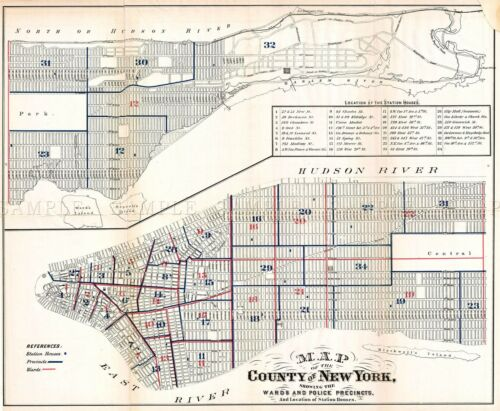MAP ANTIQUE 1871 HARDY NEW YORK CITY POLICE DEPARTMENTS REPLICA PRINT PAM1897
