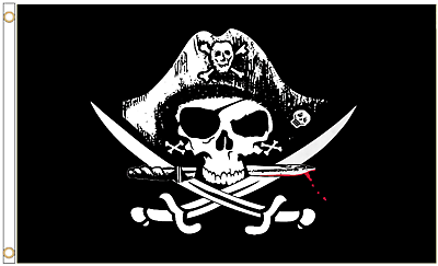 Pirate Skull and Sabres Red 3/'x2/' Flag