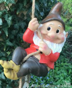 Grand-Gnome-amant-cadeau-arbre-escalade-pendaison-Corde-Ornement-Decoration-Sculpture