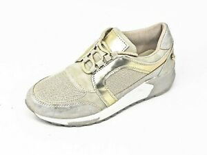 Dettagli su XTI Scarpe donna sneakers 49017 laminato oro con zeppa xti ginnastica e moda