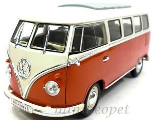 WELLY-12531W-1963-VW-VOLKSWAGEN-MICROBUS-BUS-1-18-DIECAST-MODEL-CAR-BROWN-WHITE