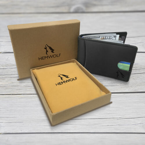 Men/'s Real Genuine Leather RFID Blocking Bifold Money Clip Dual External Pocket
