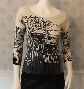 Etro-Designer-Black-White-and-Lavender-Floral-Sequin-3-4-Silk-Sweater-or-Top