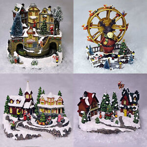 Miniature Christmas Village Nativity Scene Ornaments Musical Led