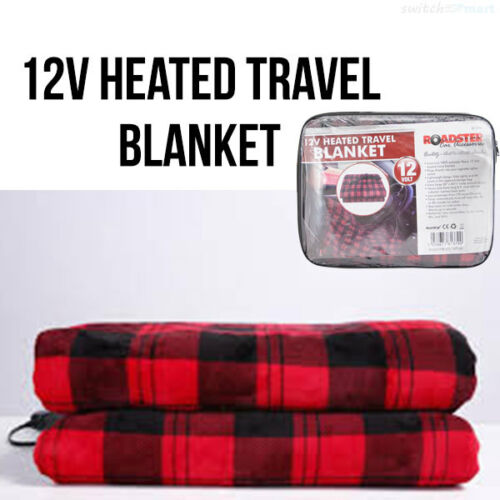 12v Heated Comfortable Blanket For Travel Car Journey Extra Long Lead