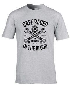 Cafe-Racer-Camiseta-de-Motociclista-Moto-Tonelada-para-Arriba-Chicos-Greaser