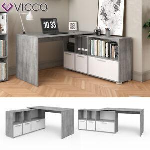 VICCO-bureau-du-coin-Flex-Tablette-de-bureau-pour-ordinateur-Beton-blanc