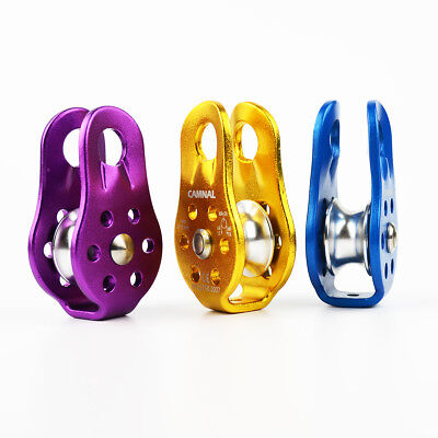 Alloy 36KN Fixed Wheel Pulley Carabiner Mountaineering Climbing Equip Tool