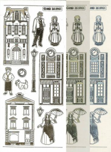 Stickers double Embossage Maison Victorienne MD355951 Auto-collant Peel Offs