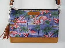 Blue Flamingo Handbag  Tropical Hibiscus Palm Island Clutch Summer Holiday Brown