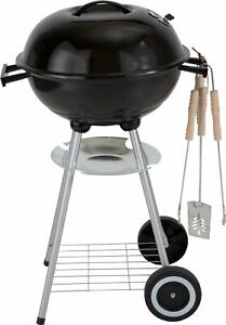 Round 43cm Kettle BBQ 41x41cm Cooking Area with 2 Wheels - Black.