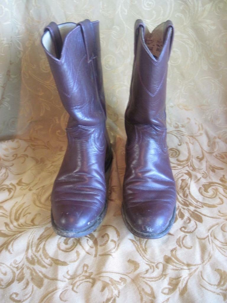 Justin Cowboy Boots Women's Maroon Classic L038 Western Ropers Leather 5.5C