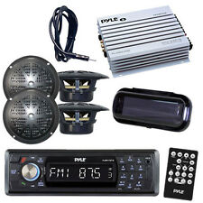 Detachable Face Marine Radio Player & Bluetooth 4 Speakers + Amp /Cover +Antenna