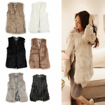 Womens Ladies Faux Fur Shaggy Vest Sleeveless Outerwear Long Hair Waistcoat