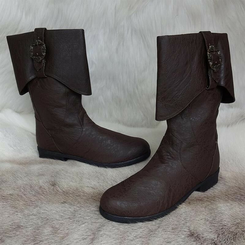 Brown Caribbean Pirate Distressed Leather Look Calf Boots. Ideal for LARP