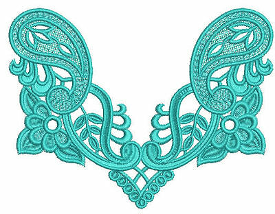 Ornamental Paisley FSL Lace Machine Embroidery Designs CD 5x7 Brother, Janome