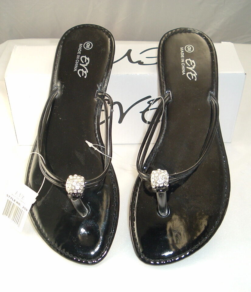 Womens Black Sandal,Flip Flops, Solid Shiny Black Womens by EVE Free Shipping Limited Supply 3ae9a3