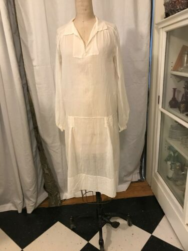 1920s Antique Sheer Cotton Day Dress
