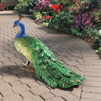 The Emerald Green Blue Classic Regal Peacock Large Hand Painted Garden Sculpture