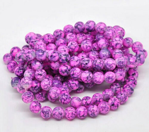Fabulous Fuchsia and Midnight Navy 1 Strand BD043 BULK 80 Glass Beads 10mm
