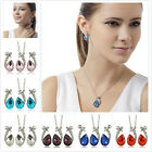 Gorgeous Women Silver Plated Crystal Teardrop Pendant Necklace+Earrings Set Gift