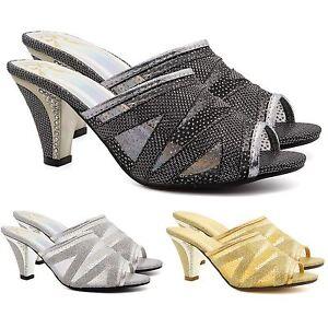 Femme Bas Mi Chaton Talons Strass Sandales Femmes Mariage Bal Shoes Uk-afficher Le Titre D'origine