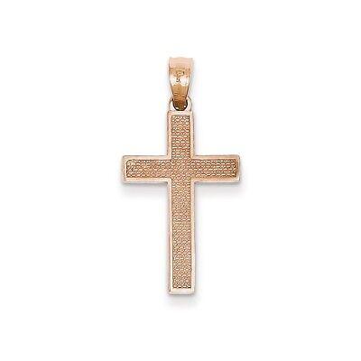 14k Roségold Poliert & Strukturiert Latin Kreuz Christentum Religiös