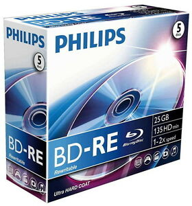 5-Philips-Rohlinge-Blu-Ray-BD-RE-25GB-2x-Jewelcase