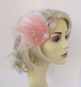 perfect for weddings hairclip or hairband Light pink fascinator