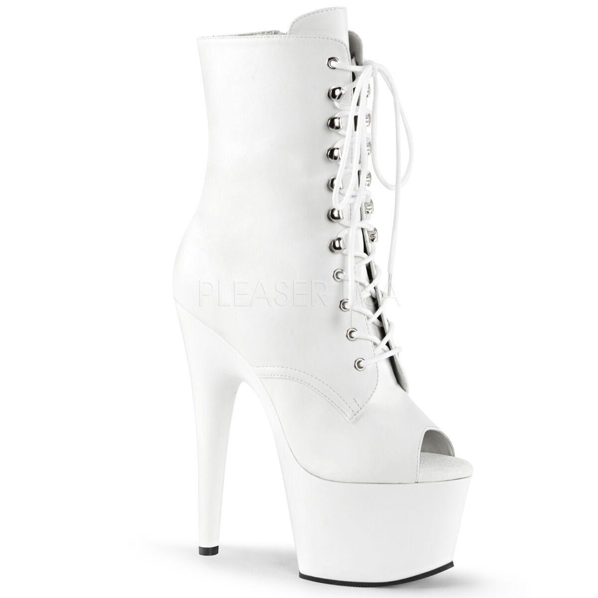 Sexy Stripper Plataforma Peep Toe 7  Tacón Alto botas botas botas al Tobillo blancoo ADO1021 WPU M  barato