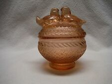 VINTAGE PINK DEPRESSION GLASS 2 BIRDS CANDY DISH WITH LID