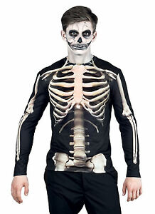 Hombre Esqueleto Camiseta LUJO 3d Huesos Disfraz Halloween NUEVO M L