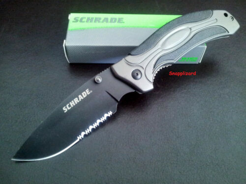 "Schrade 4.9"" Liner Lock Drop Point Combo Blade SCH205S Folding Pocket Knife EDC"