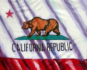 Image Is Loading California State Flag Original Art PAINTING DAN BYL