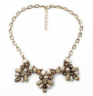 Retro Elegant Jewelery Pearl Resin Leaf Flower Multi Pendant Choker Bib Necklace