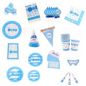 Bebe-Garcon-Anniversaire-Douche-Fete-Bapteme-Fournitures-Decorations-Vaisselle-Bleu
