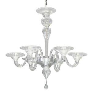 Leuchter-Glas-Murano-Durchsichtig-Kristall-5XE14-Mit-Struktur-Chrom-Silber