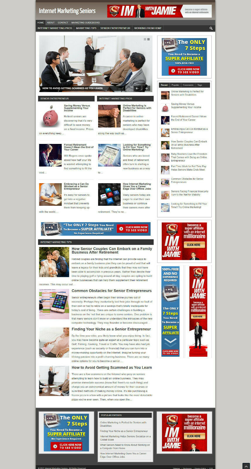 SENIORS INTERNET MARKETING UK AFFILIATE WEBSITE - FREE DOMAIN + HOSTING
