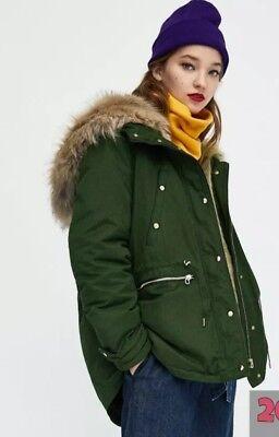 Women's Clothing Clothing, Shoes & Accessories Responsible Zara Olive Khaki Green Parka Size Large