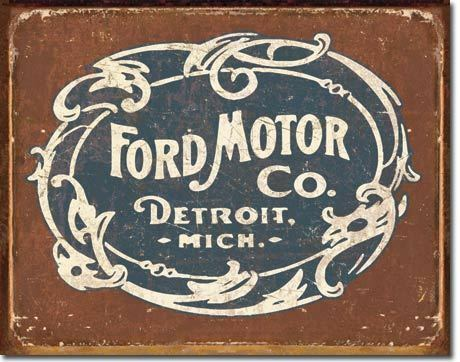 Ford Motor Historic Logo Truck Tin Sign Metal Poster