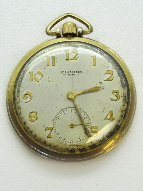 Vintage Clinton 17 Jewels 10k Gold Filled Pocket Watch