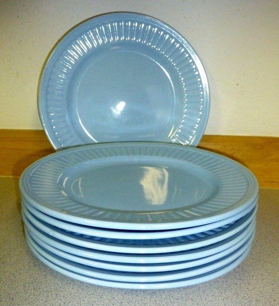 Royal Norfolk Greenbrier International 11 in Dinner Plate Light bluee Ribbed