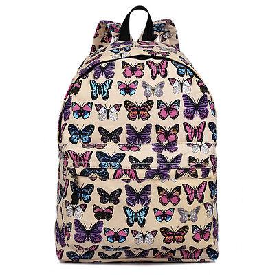 Damen Herren Rucksack Daypacks Schule Reise Laptop Arbeittasche Schmetterling