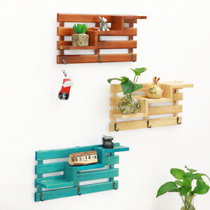 Wood Shelves Wall Mounted Floating Shelf Rack Storage Bookcase Home Decors Solid