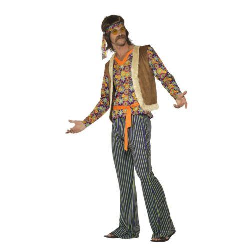Adult Mens 60 s 70 s John Hippy Festival Singer Rétro Fancy Dress Costume éclats