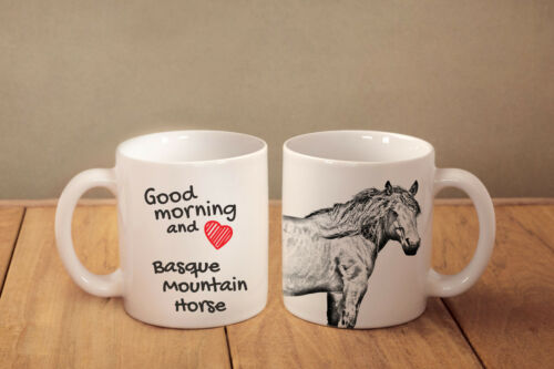 "Basque Mountain Horse ceramic cup, mug ""Good morning and love"",UK"