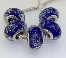 5PCS Silver Murano Lampwork Glass Beads fit European Charm Bracelet IL145